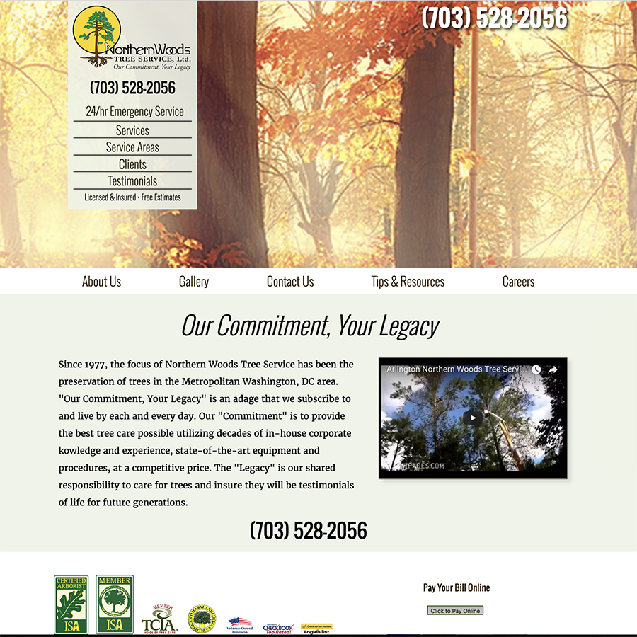 Northern Woods Tree Service Website